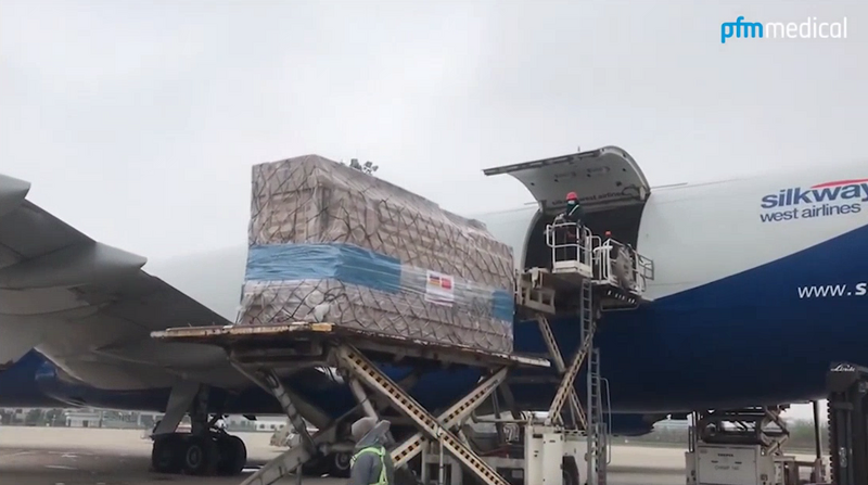 Loading of the protection masks in China.